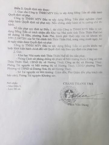 Quyết định xử phạt do thanh tra Sở Tài nguyên và Môi trường tỉnh Thừa Thiên Huế cung cấp cho Pháp luật Plus.
