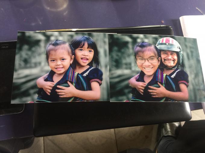 Bức ảnh gốc (bên trái) và bức ảnh đã qua chỉnh sửa. (ảnh: anh Nguyễn MinhHòa cung cấp)