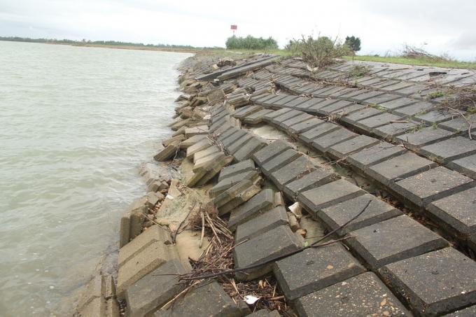 Hàng trăm mét kè đê sông bị sập nát.