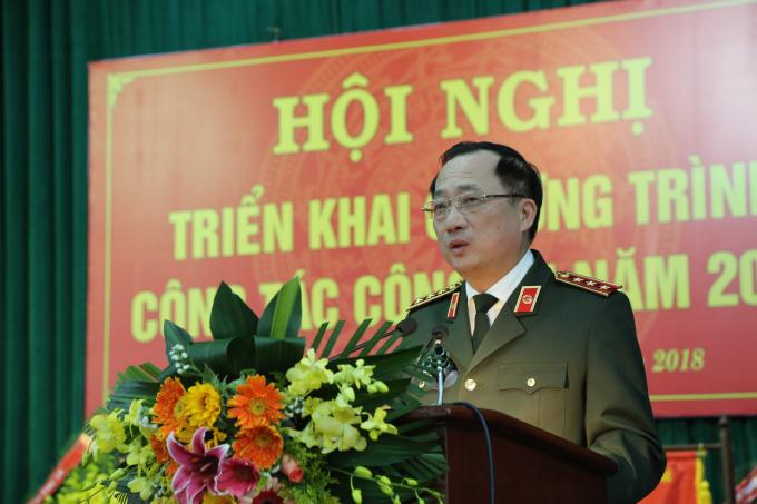 Thượng tướng Nguyễn Văn Thành - UVTW Đảng, Thứ trưởng Bộ Công an phát biểu chỉ đạo tại Hội nghi.