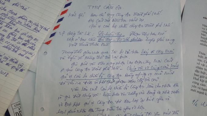 Bức thư của gia đình bị hại gửi tới lực lượng Công an TP Huế.