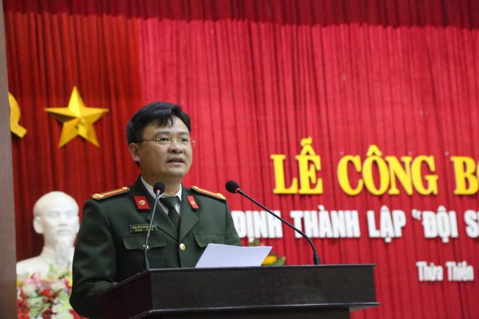 Trung tá Nguyễn Thanh Tuấn – Phó Giám đốc Công an tỉnh Thừa Thiên Huế tại buổi Lễ.