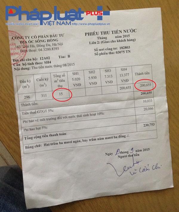 Phiếu tính giá nước tạiSông Hồng Park View.