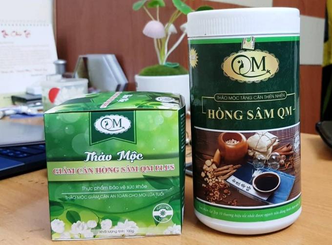 Hai sản phẩm tăng cân và giảm cân của Công ty TNHH Thảo mộc thiên nhiên Hồng Sâm QM.