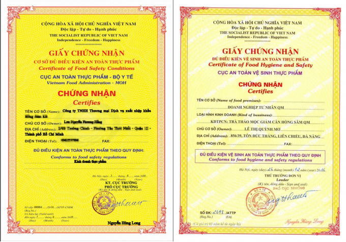 Từ năm 2012, Cục An toàn vệ sinh thực phẩm đã đổi tên thành Cục An toàn thực phẩm, và cấp giấy chứng nhận đã theo mẫu mới (phải) nhưng giấy chứng nhận cấp năm 2016 cho Doanh nghiệp tư nhân QM vẫn mang mẫu cũ và con dấu mang tên Cục ATVSTP.
