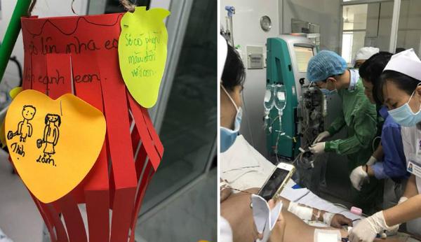 Bé trai trong thời gian điều trị tại Bệnh viện Nhi đồng thành phố.Ảnh bệnh viện cung cấp.