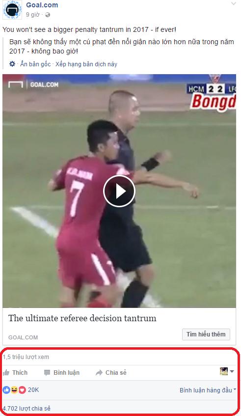 Chia sẻ trên Fanpage Goal.com về trận đấu.