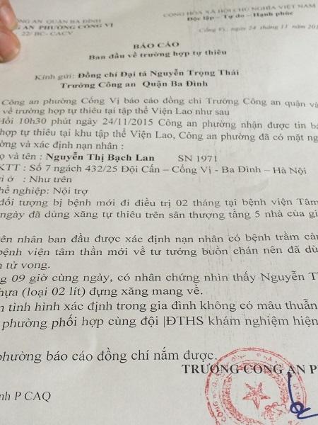 Biên bản báo cáo về trường hợp tự thiêu của công an phường Cống Vị.