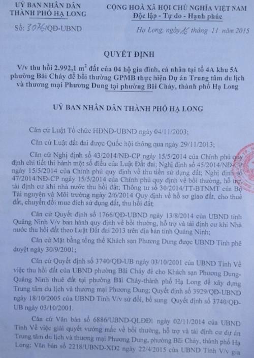 Quyết đinh thu hồi đất của UBND TP Hạ Long với diện tích 967,9m2 đất nhà bà Trần Thị Ngoan.