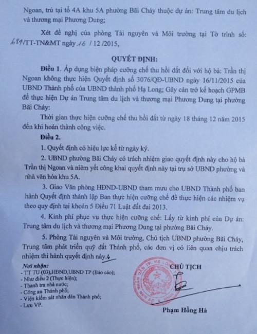 Quyết định cưỡng chế đất của UBND TP Hạ Long với diện tích 967,9m2