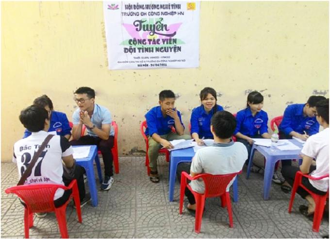 Tuyển tình nguyện viên cho Mùa hè xanh rất khắt khe qua 3 vòng. (Ảnh: Nghệ Tĩnh HaUI).