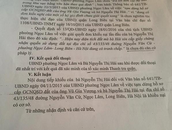 Quyết định số 1340 lại công nhận nội dung khiếu nại của bà Nguyễn Thị Hải là có cơ sở.