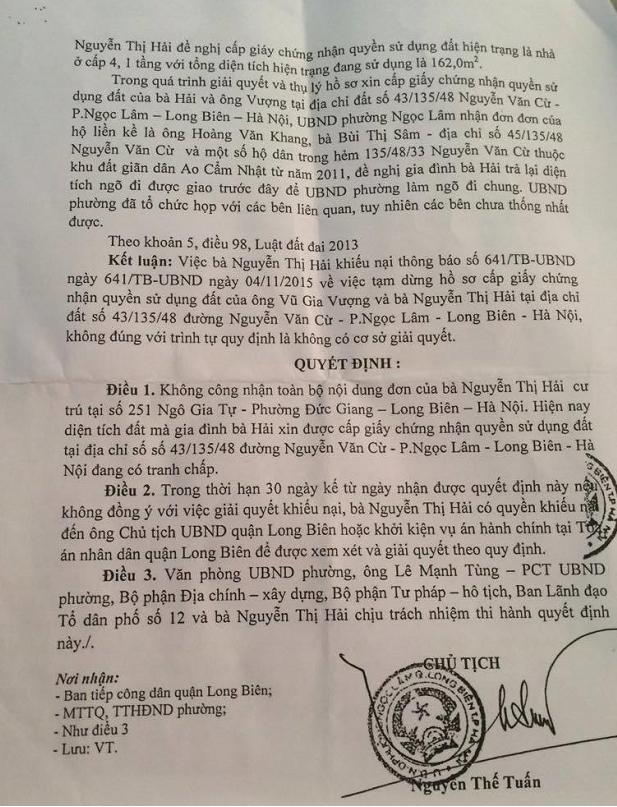 Kết luận nêu rõ đơn khiếu nại của gia đình bà Nguyễn Thị Hải về thông báo số 641/TB-UBND là không có cơ sở.