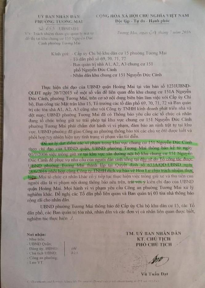 Văn bản số 655 do ông Vũ Tuấn Đạt ký phê chuẩn cho tổ công tác phối hợp cùng với Công ty TNHH dịch vụ bảo vệ Hoa Lư trông giữ xe ở khu chung cư 151 Nguyễn Đức Cảnh.