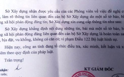 Văn bản của Sở Xây dựng Thanh Hóa.