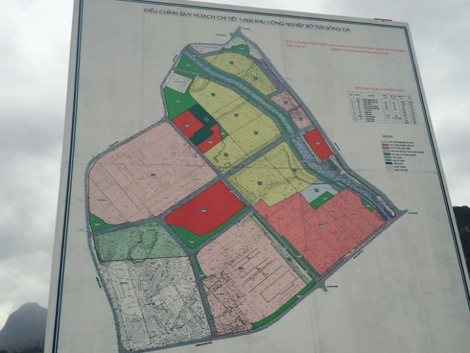 Bản đồ quy hoạch diện tích khu công nghiệp bờ trái sông Đà tỉ lệ 1/500.