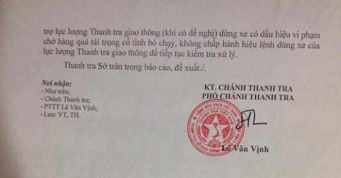 Công văn của Thanh tra Sở giao thông vận tải đề nghị Thanh tra Bộ giao thông vận tải và Sở giao thông vận tải tỉnh Hòa Bình phối hợp giúp đỡ về việc kiểm tra trọng tải ở trạm cân Tân Lạc.