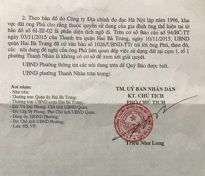 Công văn trả lời số 331/UBND của UBND phường Thanh Nhàn phúc đáp đơn thư của ông Đào Đình Phủ gửi tòa soạn Pháp luật Plus.
