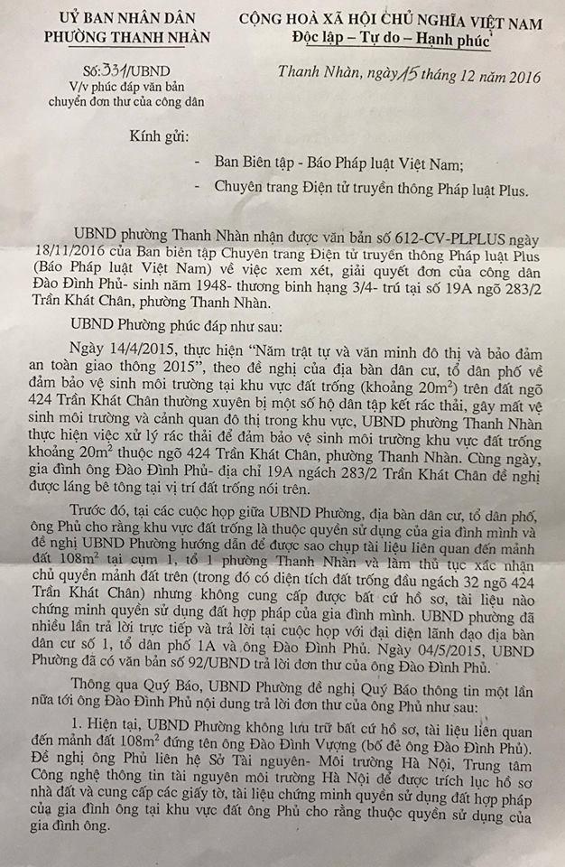 Hà Nội: Một thương binh nhiều năm đội đơn đi đòi đất