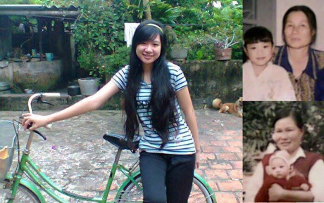 Bùi Thị Hà Vân ngày nhỏ (bìa phải) với mẹ nuôi và ngày là học sinh cấp 2 tại Thanh Hóa.