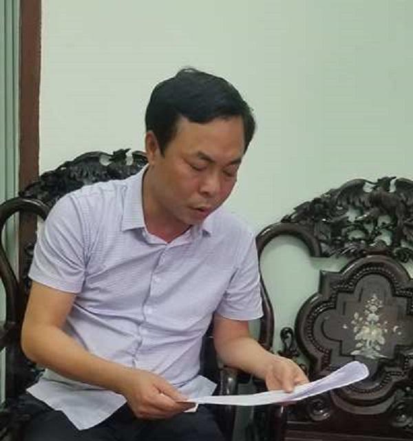 Ông Nguyễn Văn Bình, Phó chủ tịch UBND thị xã Đông Triều làm việc với phóng viên Phapluatplus.vn.