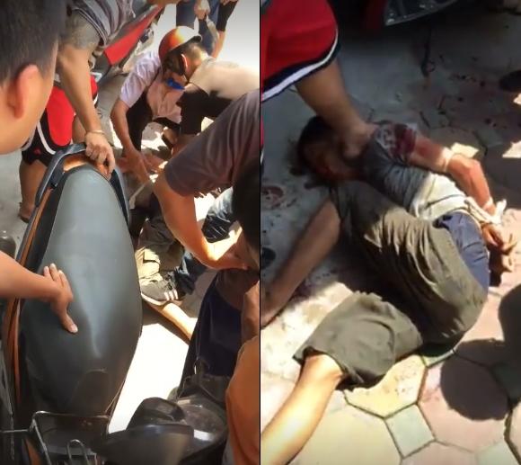 Thanh niên đâm hàng loạt người trên phố Phạm Ngọc Thạch (Hà Nội) bị khống chế.   (Ảnh Beat.vn).