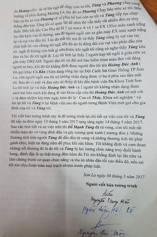 Bản tường trình của anh Nguyễn Trung Hiếu người ngồi sau xe anh Đỗ Mạnh Tùng hôm xảy ra sự việc dẫn đến cái chết của anh Tùng.