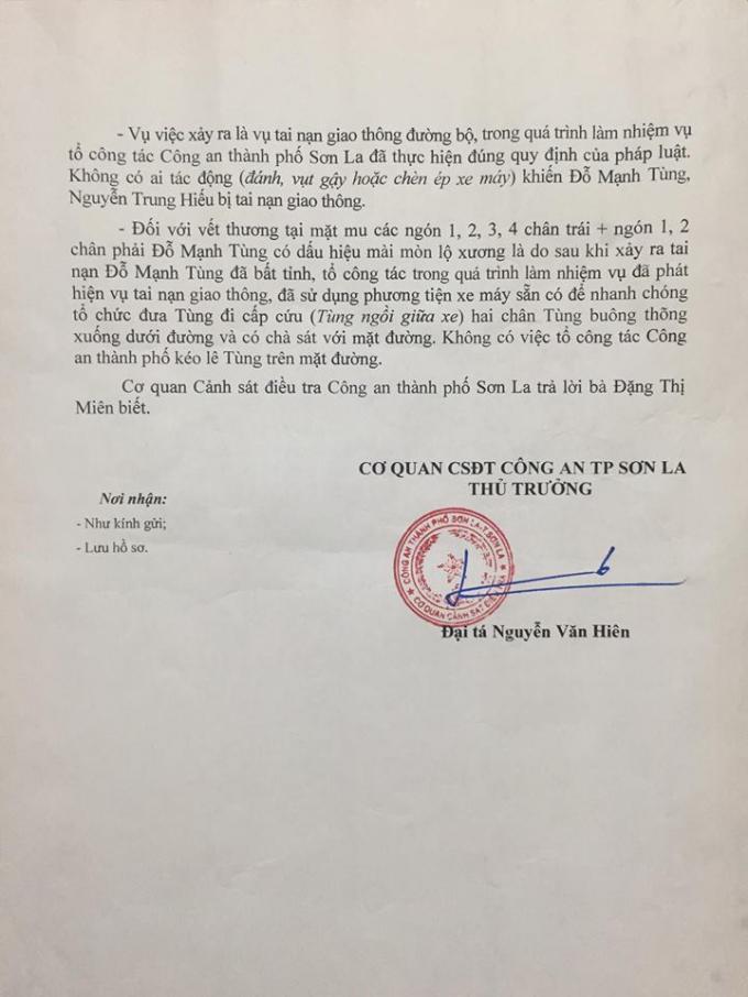 Văn bản số 701/TLĐ của Cơ quan CSĐT - Công an TP Sơn La trả lời bà Miên về nguyên nhân dẫn đến cái chết của anh Đỗ Mạnh Tùng, con trai bà Miên.