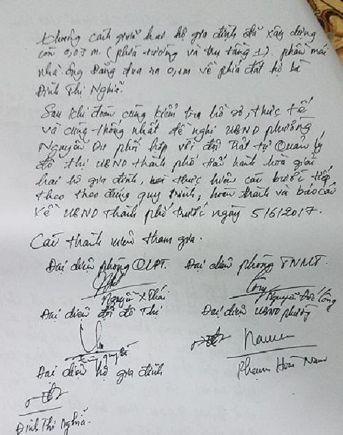 Biên bản kiểm tra hiện trạng xác định mốc giới do anh Phạm Hoài Nam, địa chính phường Nguyễn Du lập với sự tham gia của các phòng ban chuyên môn của TP Hà Tĩnh nhưng lại không kiểm tra hiện trạng mốc giới hộ nhà anh Lương Sỹ Đằng (hộ liền kề với gia đình ông Tam).