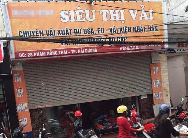 Cửa hàng vải nơi xảy ra sự việc anh Tuấn Anh bị một đối tượng đâm.