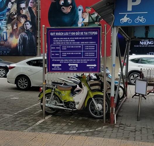 Bảng giá gửi xe tại trung tâm chiếu phim quốc gia.