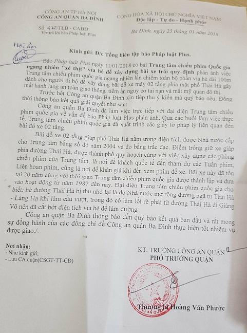 Công văn phúc đáp của Công an quận Ba Đình sau khi Phapluatplus.vn đăng tải.