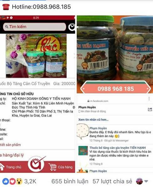 Thảo dược tăng cân dành cho người gầy của bà Nguyễn Thị Hạnh bị tố bán hàng kém chất lượng?