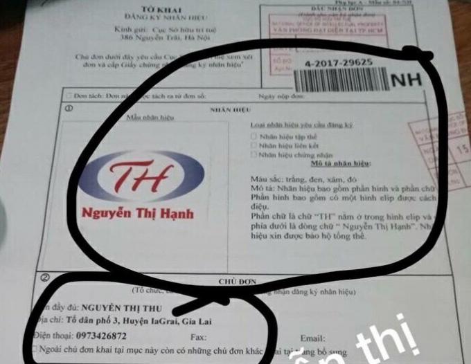 Tờ khai của chị Nguyễn Thị Thu đăng ký nhãn hiệu với Cục sở hữu trí tuệ.