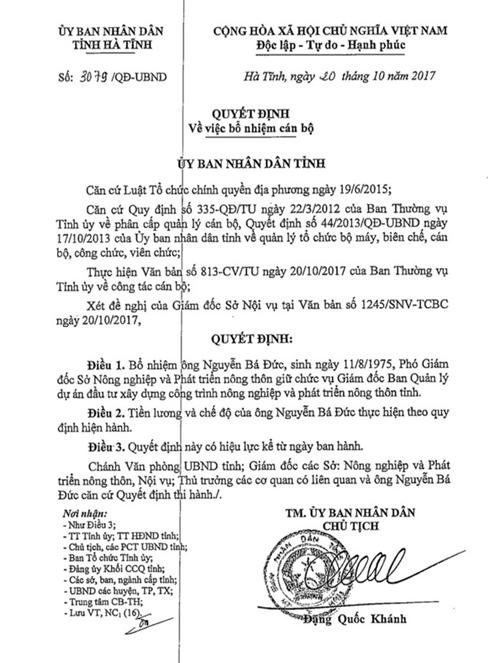 Quyết định bổ nhiệm cán bộ của Chủ tịch UBND tỉnh Hà Tĩnh.