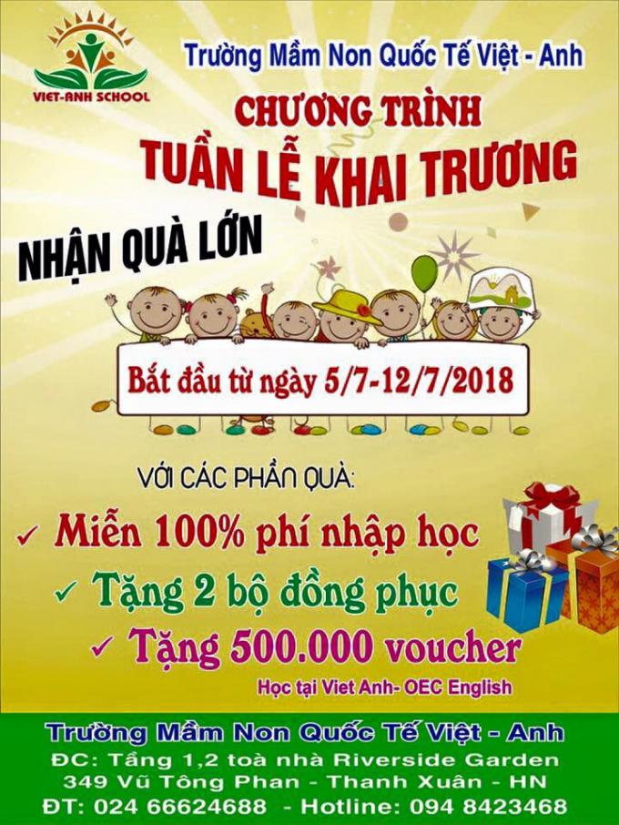 Những lời quảng cáo có cánh của trường mầm non quốc tế Việt Anh.