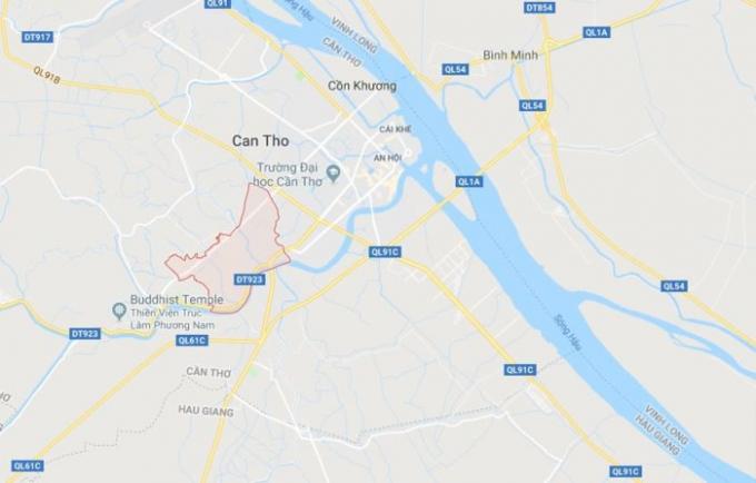 Phường An Bình (màu đỏ) ở Cần Thơ. Ảnh:Google Maps.