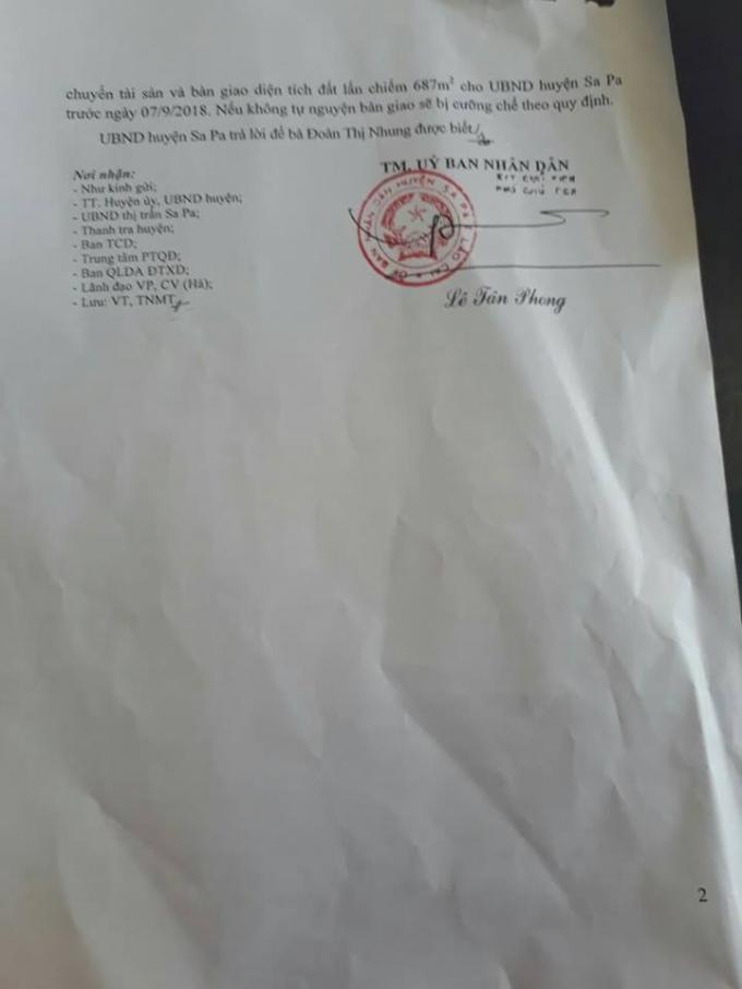 UBND huyện Sa Pa dựa vào hợp đồng mua bán điện giữa bà Đoàn Thị Nhung với Công ty điện lực miền Bắc để xác định diện tích 687m2 là đất của bà Nhung là hoàn toàn thiếu cơ sở, không minh bạch dẫn tới việc cưỡng chế nhầm đối tượng.