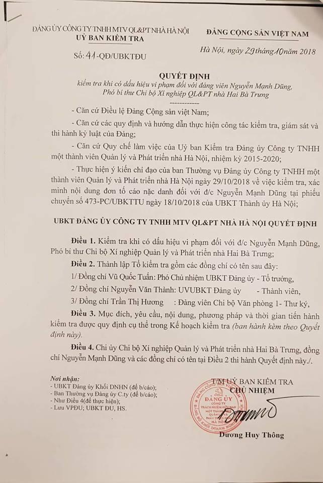 Quyết định Kiểm tra số 41 của Đảng uỷ Công ty TNHH MTV QL & PT nhà Hà Nội đang kiểm tra dấu hiệu vi phạm đối với Đảng viên Nguyễn Mạnh Dũng.