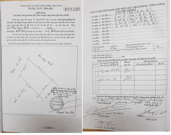 Biên bản xác định ranh giới mốc giới được ký khống của Văn phòng ĐKĐĐ.