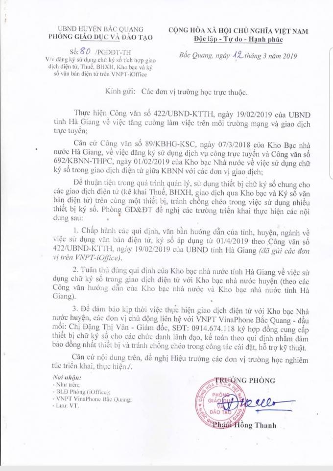 Văn bản số 80/PGDĐT-TH của Trưởng phòng GD&ĐT huyện Bắc Quang ông Phạm Hồng Thanh ký gửi các trường trực thuộc bị yêu cầu thu hồi.