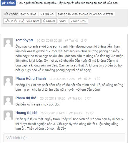 Một số bình luận của độc giả về vị trưởng phòng giáo dục và đào tạo huyện Bắc Quang.