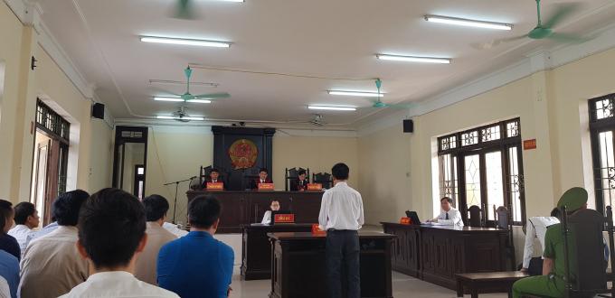 Toàn cảnh phiên xét xử ông Nguyễn Đình Khải tại tòa án nhân dân tỉnh Bắc Ninh.