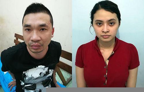 Dương và người tình Ngọc Miu sau khi bị bắt. Ảnh: Công an cung cấp.
