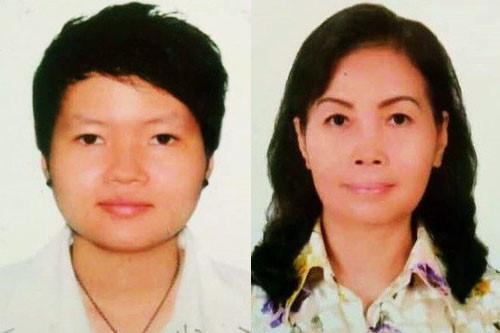 Đối tượng Hà (bên trái) được xác định chính là người phụ nữ thuê căn nhà tên Thanh. Hà bị bắt cùng mẹ ruột và 2 người phụ nữ khác.
