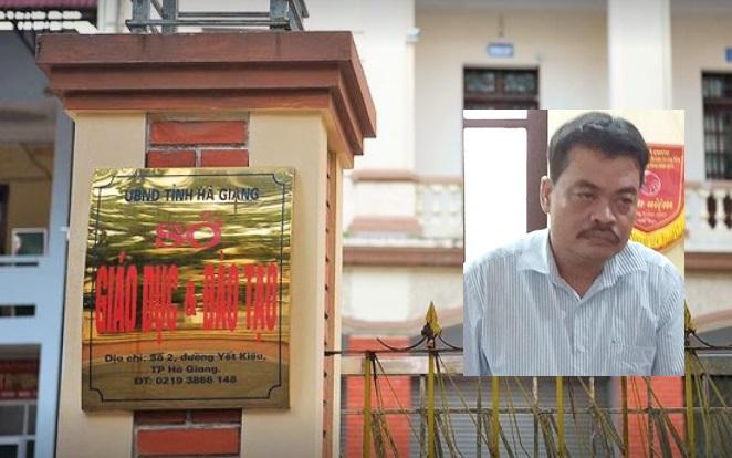 Bị can Nguyễn Thanh Hoài và trụ sở Sở GD&ĐT tỉnh Hà Giang.