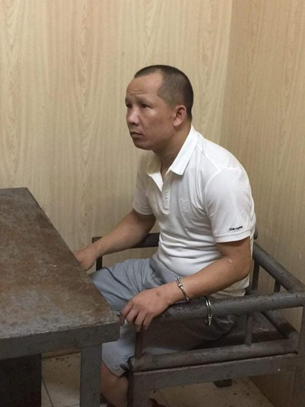 Đối tượng Nguyễn Mạnh Cường tại cơ quan Công an.