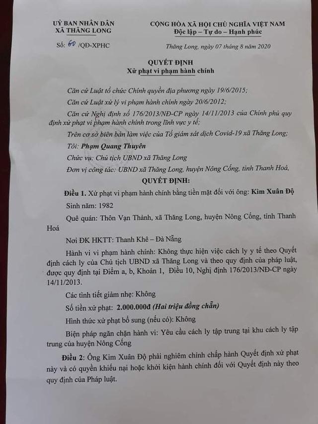 Gia đình ông Độ bị UBND xã Thăng Long xử phạt vì không thực hiện biện pháp cách ly.