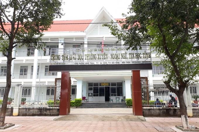 Trụ sở Trung tâm Giáo dục Thường xuyên - Ngoại ngữ - Tin học tỉnh Đắk Nông nơi ông M.N.S. thi chuyên viên chính.