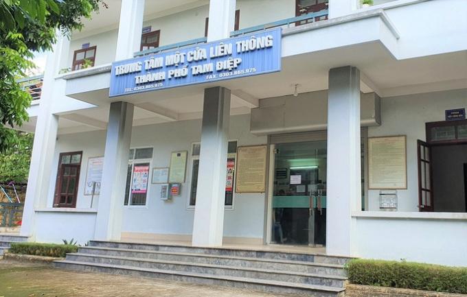 Chi nhánh Văn phòng Đăng ký đất đai TP Tam Điệp, nơi ông Hùng và bà Hoa đang công tác